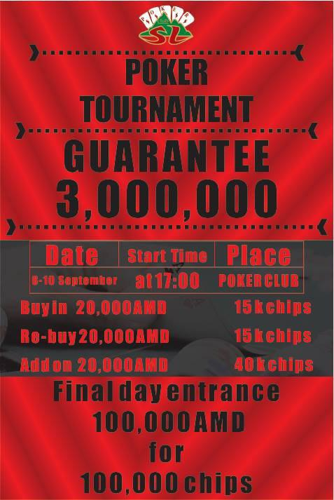 8 - 10 September - Shangri La Poker Tournament